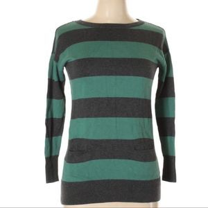 Nordstrom Caslon Green Gray Striped Sweater